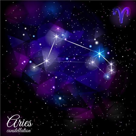 Aries Constellation With Triangular Background.