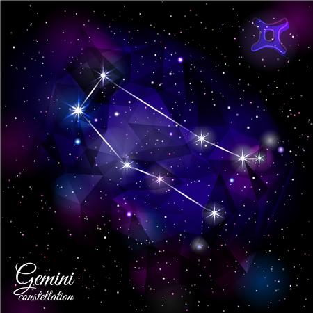 Gemini Constellation With Triangular Background.