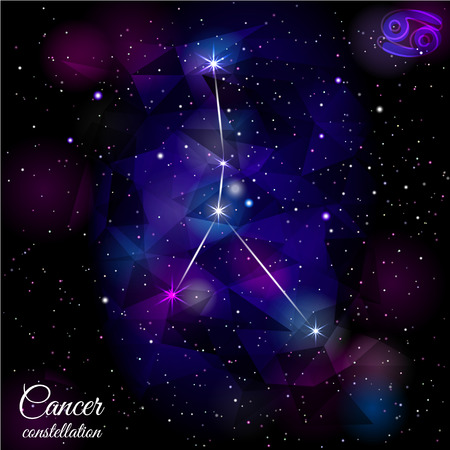 astronomic: Cancer Constellation With Triangular Background.
