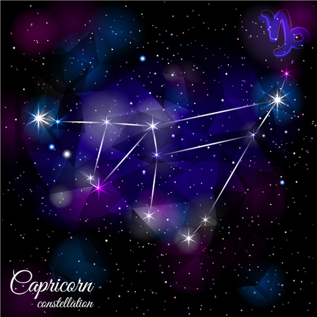 astronomic: Capricorn Constellation With Triangular Background. Illustration