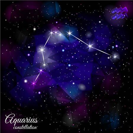 Aquarius Constellation With Triangular Background.