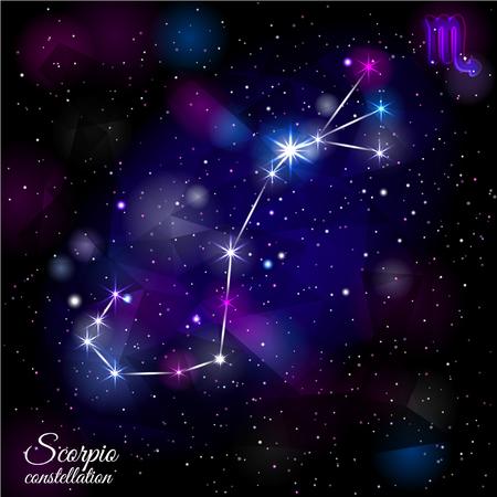 Scorpio Constellation With Triangular Background.