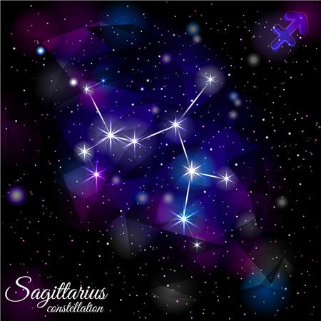 Sagittarius Constellation With Triangular Background. Illusztráció