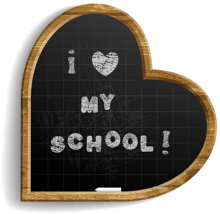 Heart Shape School Blackboard with expression I love my school .