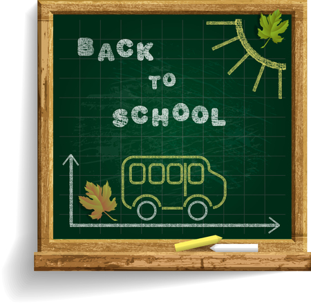 Blackboard with School Bus and expression Back to School