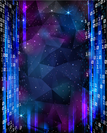 encoded: Digital Space. Background with stars and numbers. Illustration