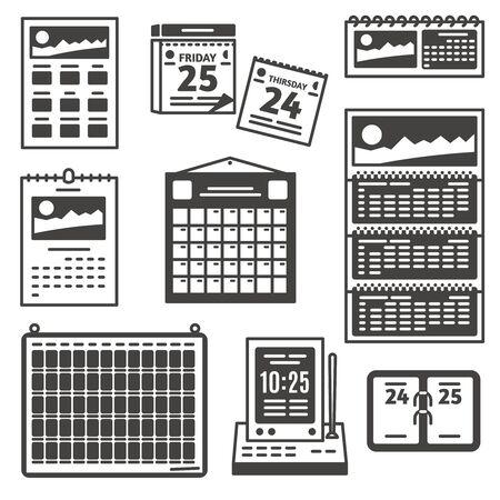 Set of calendar icons. Vectores