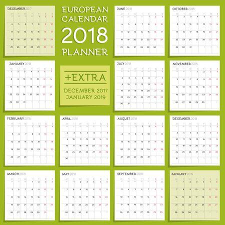Calendar Planner Design. Week starts from Monday. Stock fotó