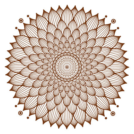 Circle floral ornament, henna tattoo style.