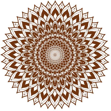 Cirkel floral sieraad op henna tattoo-stijl. Stock Illustratie