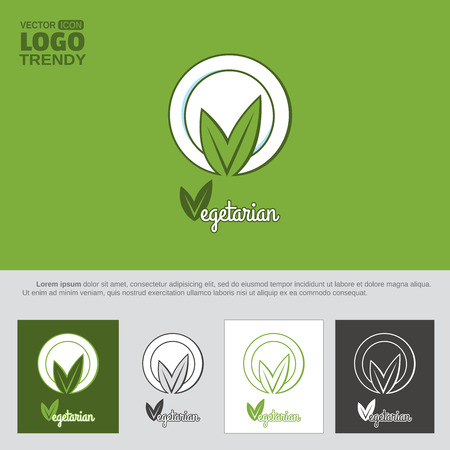 Logo with plate and green leaves. Illustration
