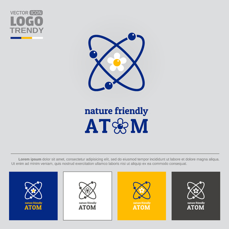 Logo with symbol of nature friendly atom.