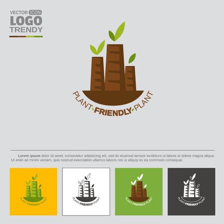 Logo with plant or factory tubes with green leaves. Symbol of nature friendly industry. Illustration