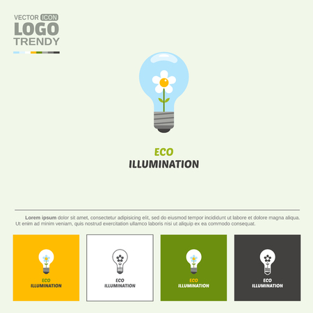 Electrical lamp and flower. Illustration