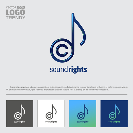 Music note and copyright sign letter C.
