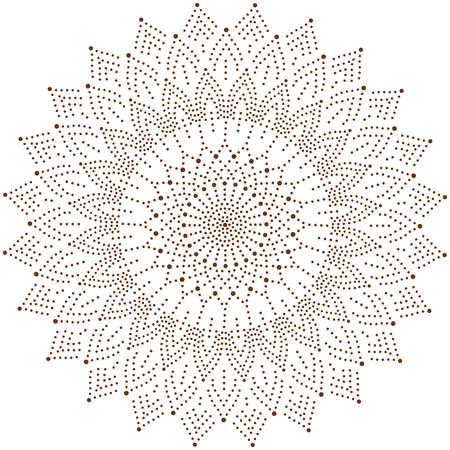 원형 꽃 장식, 점 헤너 문신 스타일.