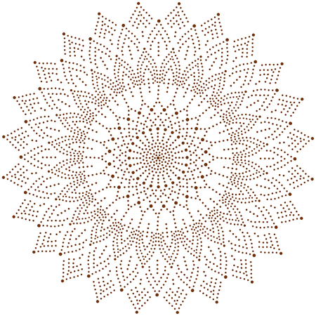 Circle floral ornament, dot henna tattoo style. Stock Illustratie