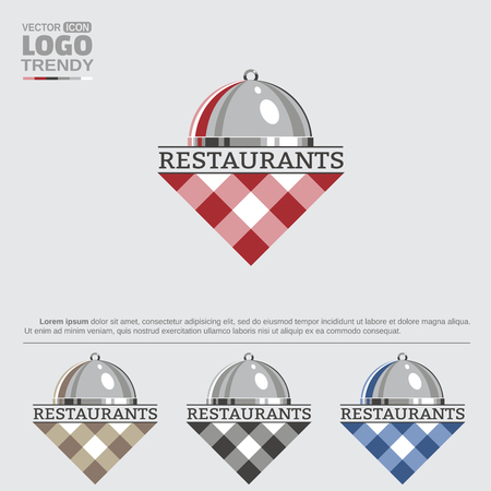 Logo with restaurant dish and tablecloth. Stock fotó - 90934367