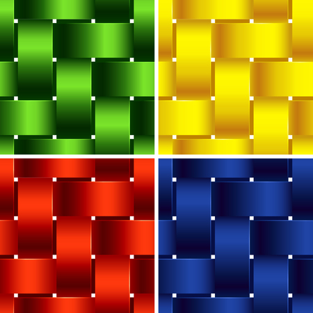 Plastic Basketwork. Four Bright Seamless Patterns. Stock fotó