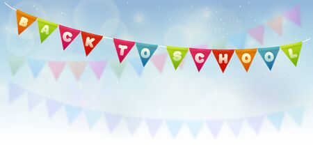 Party flags with text -Back to school-. Handmade font.