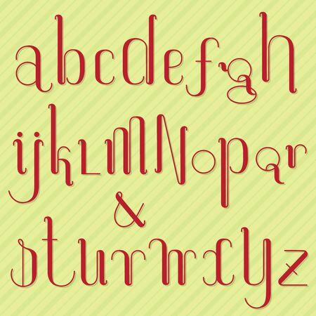 Set of rounded thin alphabet letters on Xmas style background.