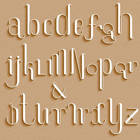 Set of rounded thin alphabet letters with long shadows on cardboard paper background. 向量圖像