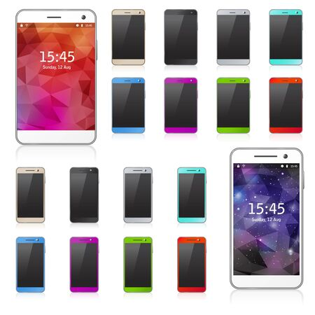 Colorful mobile phones with transparent reflection. Set of templates.