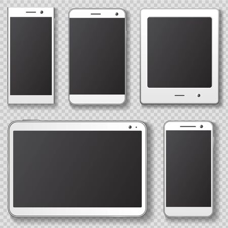 Mobile device templates with transparent shadow. 向量圖像