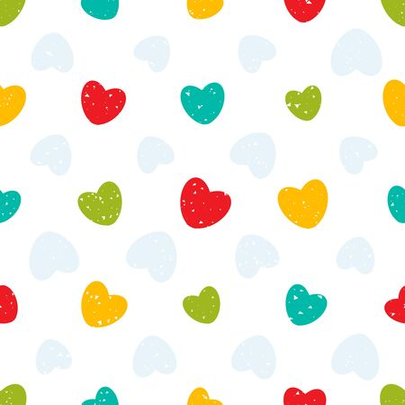 Seamless pattern with colorful hearts and simple grunge texture.