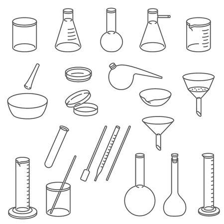 Chemical laboratory glassware.