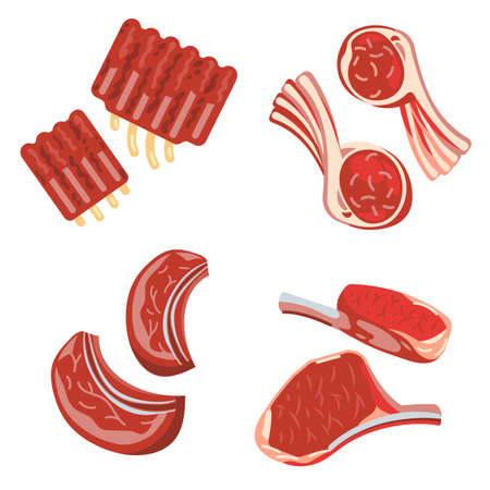 Raw red meat on white