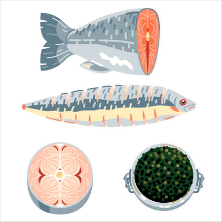 Different parts of fish and caviar