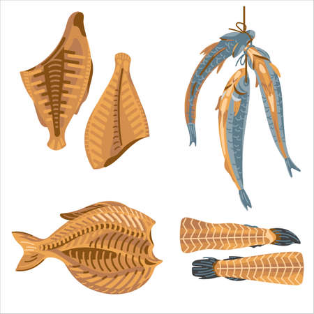 Dried fish flesh and parts
