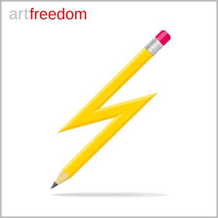 Lightning Shaped Pen conceptual illustration.