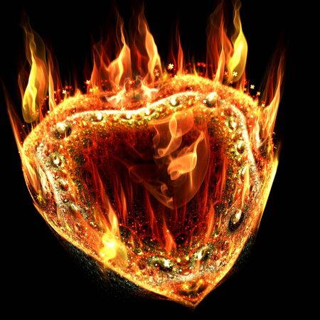 flaming heart: Abstract flaming heart of the gem, decorated with small four-petal flowers for backgrounds, banners and cards on Valentines Day