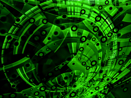 highlights: Abstract green computer-generated image in tech style on dark background with  pipes, rings, holes and highlights