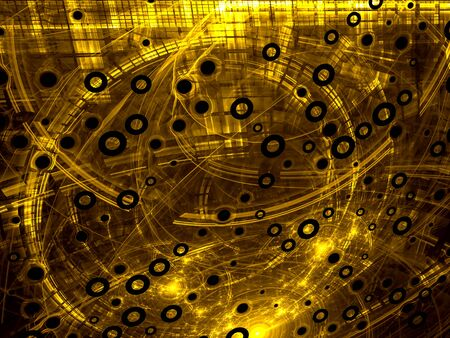highlights: Abstract yellow or gold computer-generated image in tech style on dark background with  pipes, rings, holes and highlights