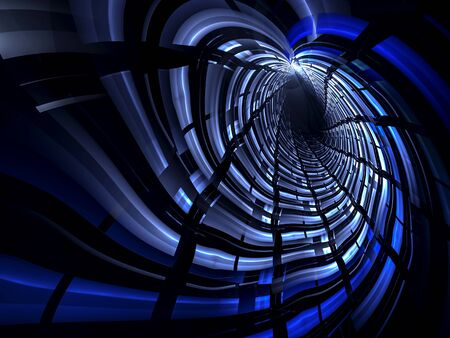 dipping: Abstract computer-generated illustration blue tunnel or hole of glowing stripes on a dark background