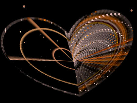 crocheted: Abstract with selective focus and bokeh image of the heart, crocheted from threads