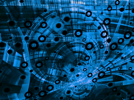 highlights: Abstract blue computer-generated image in tech style on dark background with funnel, pipes, rings, holes and highlights