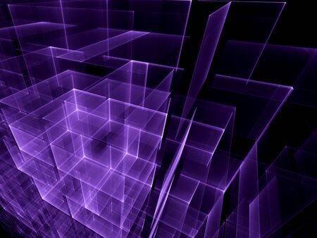purple abstract background: Abstract computer-generated image of glowing purple cubes of different sizes drawn on each other on a dark background
