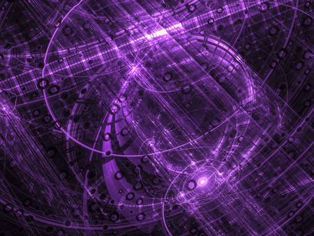 highlights: Abstract violet computer-generated image in tech style pipes, rings, curls and highlights Stock Photo