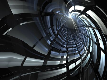 cg: Abstract digitally generated background blue and gray tunnel with light effects
