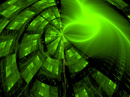 digitally: Abstract green digitally generated technology style background with circle and hightlights