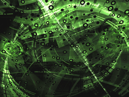 digitally generated image: Abstract green digitally generated image in technology style on dark background with  pipes, rings, holes and highlights