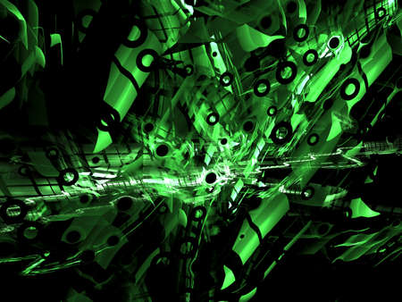 digitally generated image: abstract digitally generated green image design complex shapes, reminiscent of the futuristic constraction
