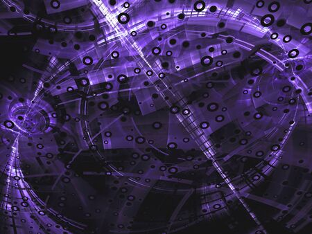 highlights: Abstract purple digitally generated image in technology style on dark background with  pipes, rings, holes and highlights