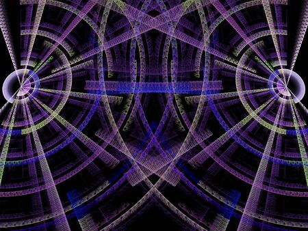 digitally generated image: Abstract digitally generated image of two crossing textured disks on a dark background