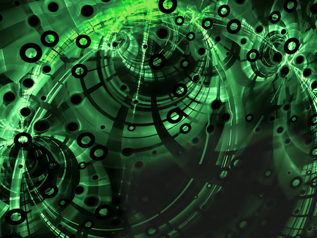 highlights: Abstract green digitally generated image in technology style on dark background with  pipes, rings, holes and highlights
