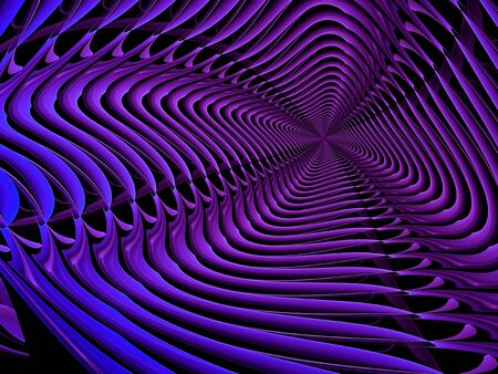 digitally: Abstract digitally generated background striped purple and blue tunnel Stock Photo